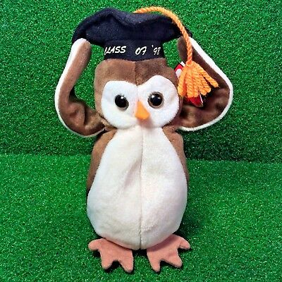 Ty Beanie Baby Wise The Graduation Owl Retired 1997 Plush Toy MWMT