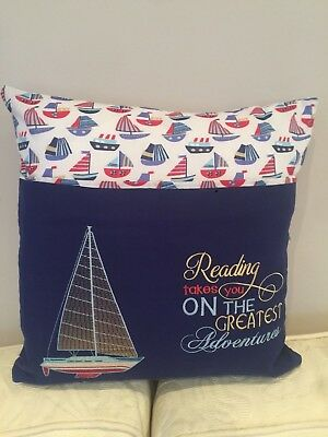 "BOYS, KIDS SAILING HANDMADE READING CUSHION, POCKET PILLOW COVER 14"" x 14"""