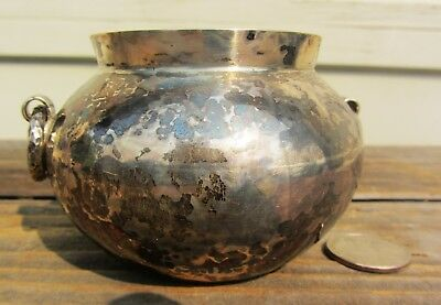 Fine Antique Mexican 900 Silver Arts And Crafts Hammered Bowl Jar Vase Pot 125Gm