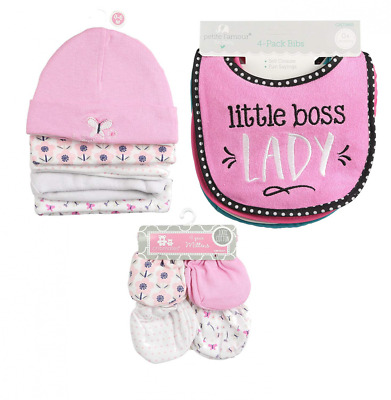 """Infant Caps Pink 5-pk, 4 Piece Girl Bib, and 4 Pairs Unisex-Baby"
