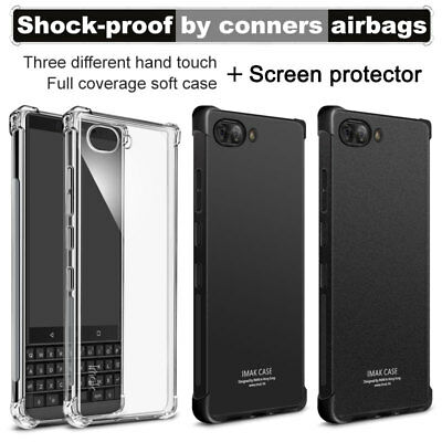 IMAK For BlackBerry Key2, Shockproof Soft Silicone Case Cover + Screen Protector