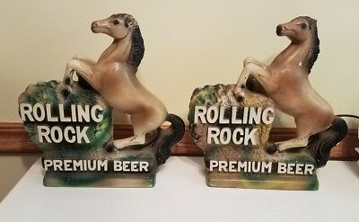 Vintage Rolling Rock Premium Beer Rearing Horse Bookends Set Pair 2 Sign Bar