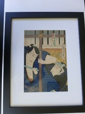 Original Antique Japanese woodblock print by Toyohara Kunichika( 1835-1900+Bonus