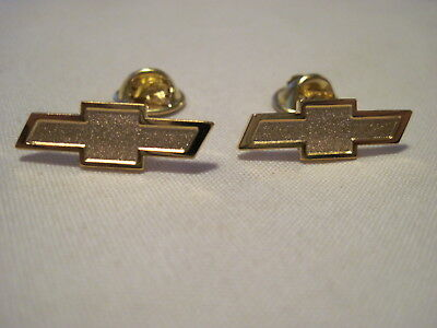 Two  Chevrolet Gold Colored Bow Tie Chevy  Hat Pins ,lapel Pins,insignia ,logo