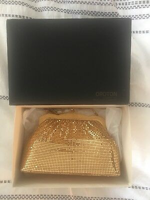 Vintage Oroton Glomesh Bag In Box As New Gold