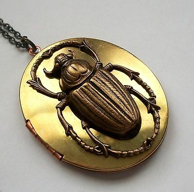 3d BEETLE SCARAB Vintage  LOCKET NECKLACE Goth Steampunk Antique Brass Egyptian