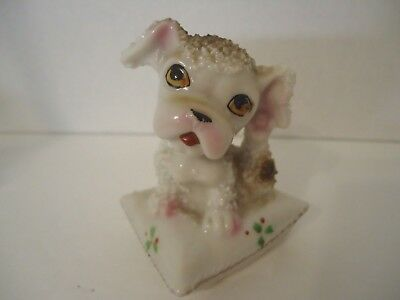Vintage Mini Ceramic Dog Sitting On Pillow Stamped Japan 3""