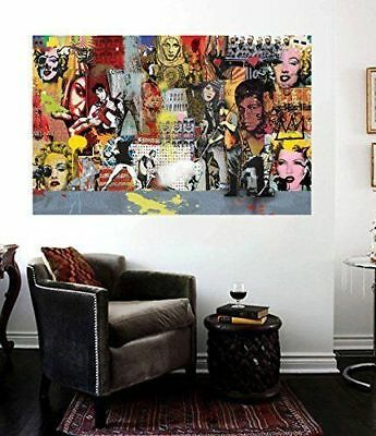 Banksy Street Art Collage 36 x 24 Insane  Collection - Ali, Marilyn, Elvis Vol 2