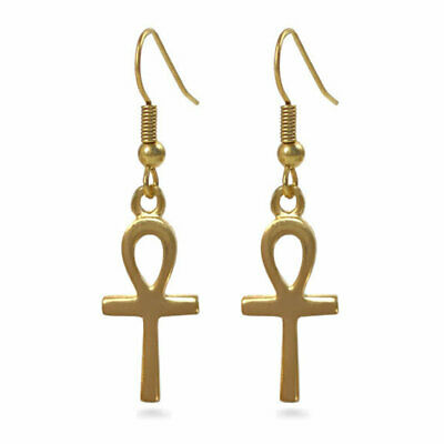"""Tiny Egyptian Ankh Earrings, Charm 1"""" Drop 1.25"""" - Pricegems Museum Collection"""