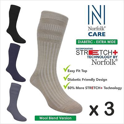 3XNorfolk Wool Blend 'Unisex' Diabetic Socks, Extra-Wide Soft Top, Edema - Oskar