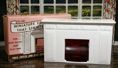 RARE! More Mfg USA LIGHT UP FIREPLACE Vintage Dollhouse Furniture Renwal Ideal