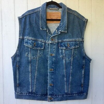 LEVI'S Blue SLEEVELESS Jean Jacket DENIM Distressed BIKER VEST Men's SIZE XXL 48