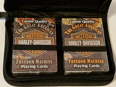HARLEY-DAVIDSON Motorcycle (2) Decks of Playing Cards in case