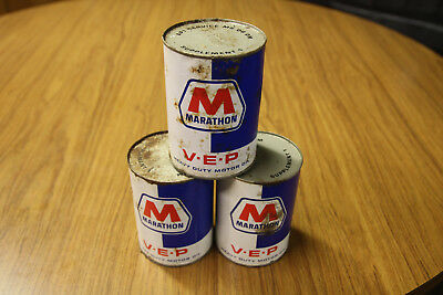 VINTAGE Three 1 QUART Marathon Oil Cans Man Cave Garage GAS Auto Rare