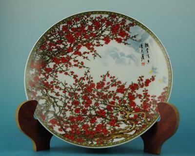 China antique hand-made famille rose porcelain peach blossom pattern plate b02