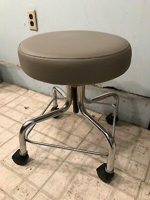 Chrome Base Stool with  wheels