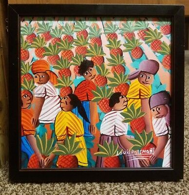 Louis Rosemont Haitian Folk Painting Original Signed