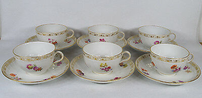 Antique KPM Germany Berlin Porcelain Tea Cups and Saucers Set of Six