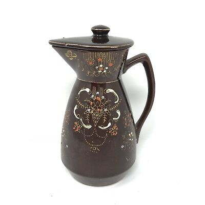 "Old Antique Brown Cloisonne Coffee Tea Pot Teapot 8"" With Lid Made in Japan PAC"