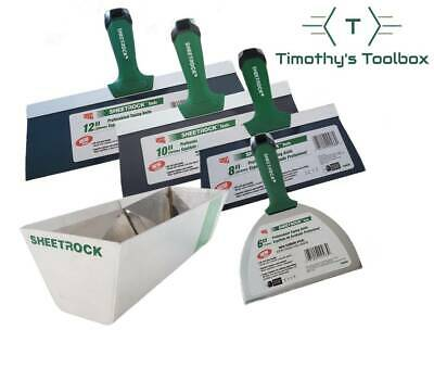 "USG Sheetrock 6'', 8'',10'', 12'' Pro-Series Drywall Taping Knives + 12"" USG Pan"
