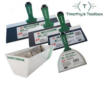 "USG Sheetrock Pro Series Taping Knife Set 6-8-10-12 + 12"" USG Sheetrock Mud Pan"
