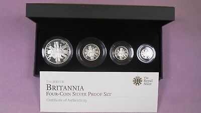 2011 Royal Mint Silver Proof Britannia Four Coin Set Cased & Cert