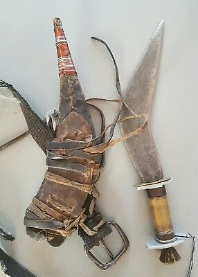 Old African Ethiopian Afar Danakil Tribe Gile Dagger with Sheath Tribal Weapon