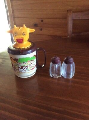 Vintage Bakelite And Glass Salt and Pepper Shakers & Whirley Cow Creamer
