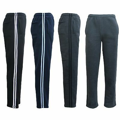 New Men's Fleece Lined Striped Casual Sport Track Suit Sweat Pants Gym Trackies