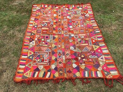 Antique Ethnic Arabic Rug/throw - Vivid Shades - 200Cm X 150Cm - Collection Only