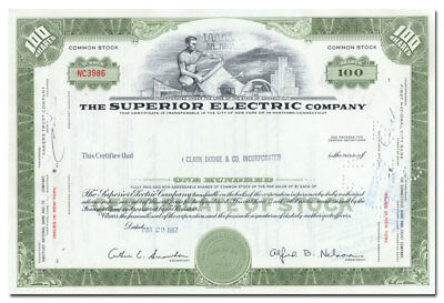 Superior Electric Company Stock Certificate (Bristol, Connecticut)