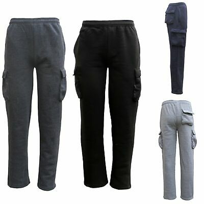 Men's Unisex Cargo Fleece Lined Casual Jogging Sports Gym Track Suit Sweat Pants