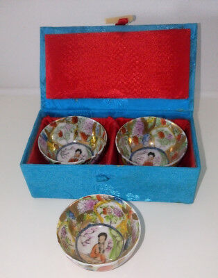 "Vintage Chinese Miniature Set of 2 Bowls ""Famille Rose"" Boxed + 1."