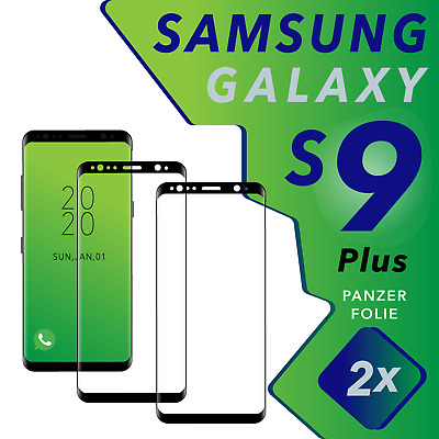 "2x Samsung Galaxy S9 PLUS Panzer Glasfolie ""BLACK""  Full Screen Curved 9H / 3D"