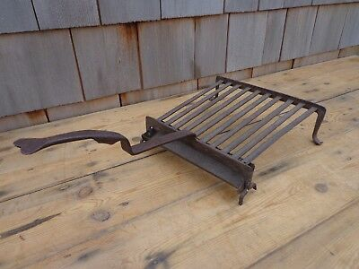 Rare Antique Wrought Iron Gridiron with fat tray early 18th century, fire irons