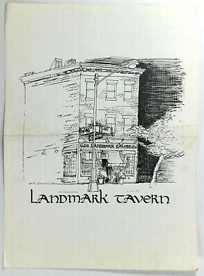1970's Original Vintage Menu LANDMARK TAVERN New York City 48th St. & 11th Ave.