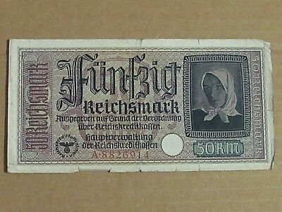 Nazi Germany 50 Reichsmark Banknote Eagle With Swastika A 8826914
