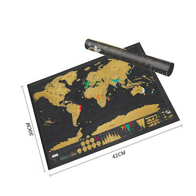 Travel World Map Scratch Off Big Poster Atlas Personalized with Cylinder Package