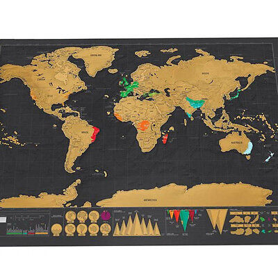 Big Size Travel World Map Scratch Off Deluxe Poster Copper Foil Wall Sticker New