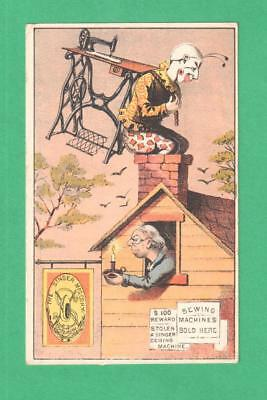 Antique Singer Sewing Machine Trade Card Pierrot Steals Machine Chimney Lady