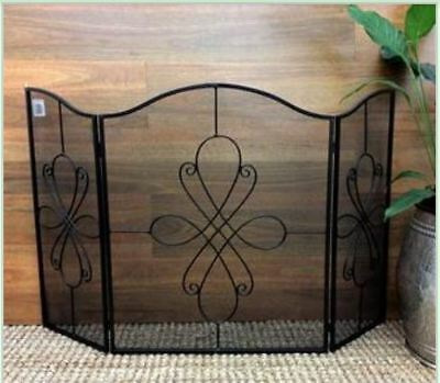 French Country Vintage Inspired Wrought Iron Black Fire Screen Foldable and P...