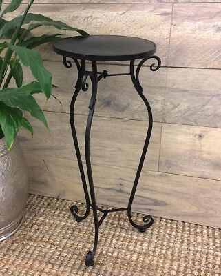 French Country Vintage Inspired Wrought Iron BLACK ROUND Table Plant Stand New