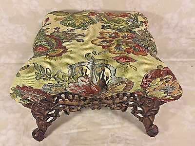 Antique Embroidered Stool with Cast Iron Base & Legs