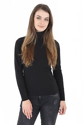 Womens Ladies 45% Cotton Roll High Neck Polo Turtle Top Jumper Long Sleeve Tops