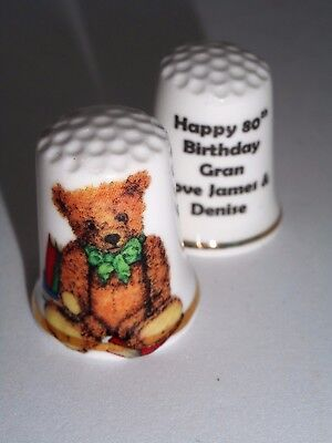 Personalised Teddy Bear Gif,t Fine Bone China Teddy Thimble With Plastic Case