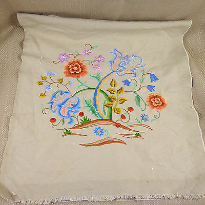 Antique Crewel Work Jacobean Hand Embroidery Panel Floral Needlework