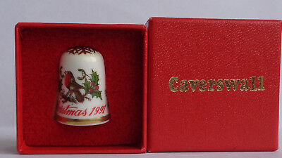 Lovely Boxed Thimble (Caverswall Christmas 1991)