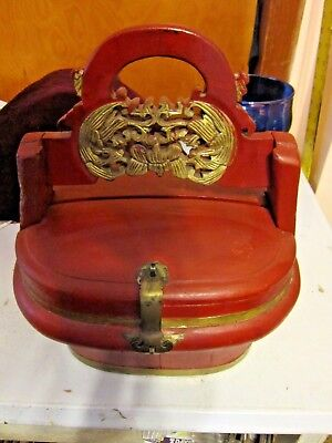 Red Lacquer, Gilded Chinese Antique Wedding Basket Carved Figures Brass Closure