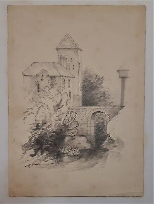 Very old original pencil drawing continental tower and bridge poss Swiss Italy