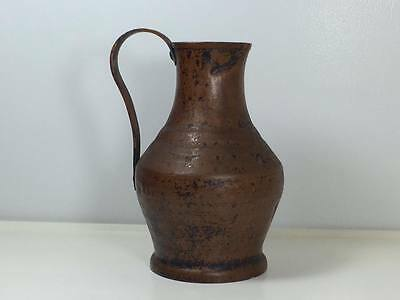 Antique Arts and Crafts Mission  era hand hammered copper pitcher